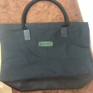 90s esprit large black zippered tote